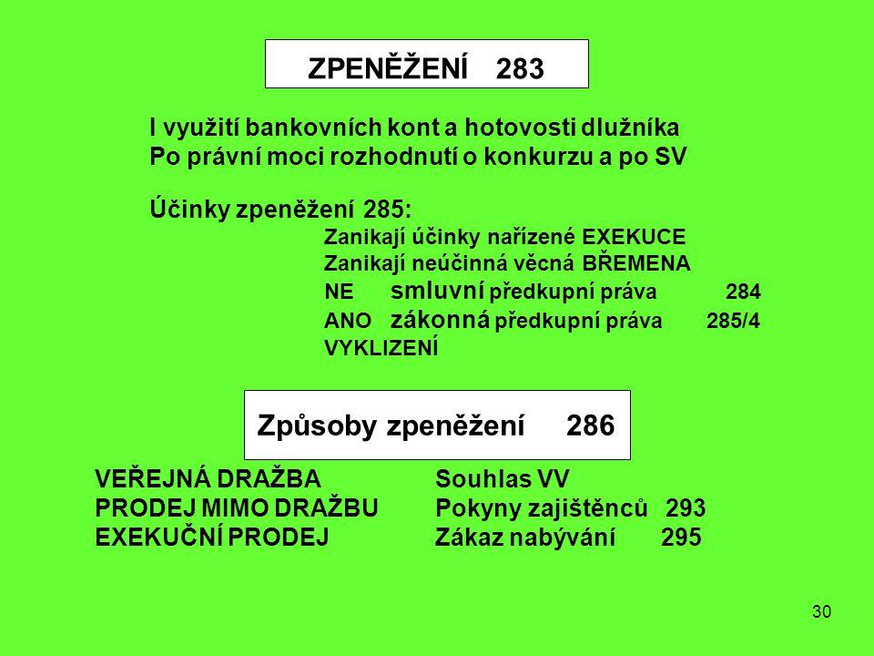 30 I využití bankovních kont a hotovosti dlužníka Po právní moci rozhodnutí o konkurzu a po SV Účinky zpeněžení 285: Zanikají účinky nařízené EXEKUCE