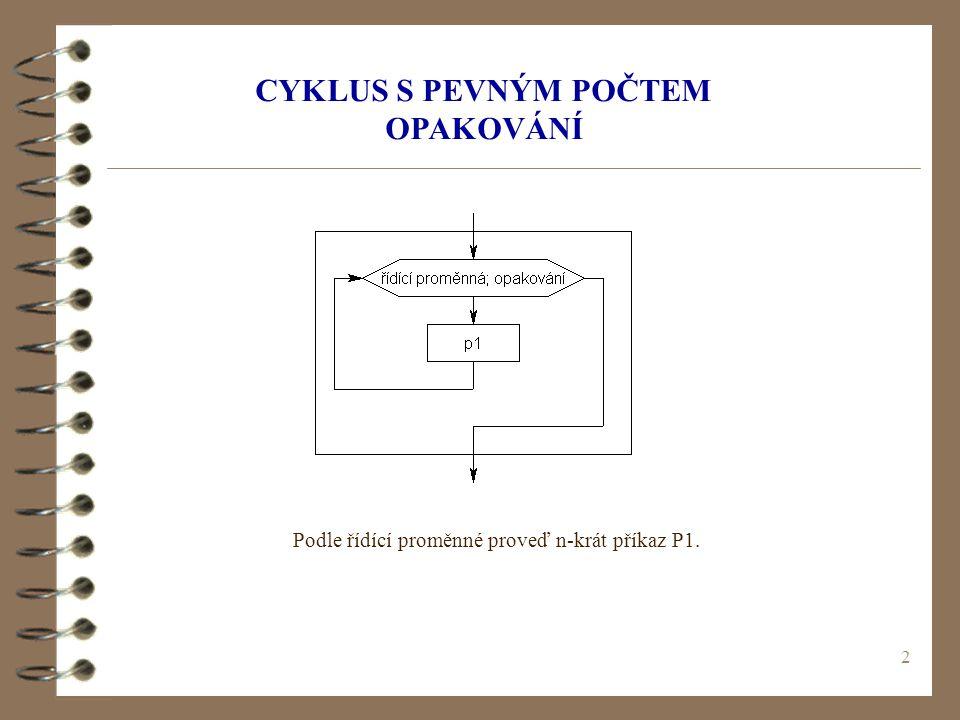 2 CYKLUS S PEVNÝM POČTEM OPAKOVÁNÍ Podle řídící proměnné proveď n-krát příkaz P1.