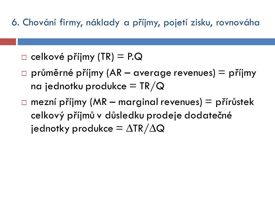  celkové příjmy (TR) = P.Q  průměrné příjmy (AR – average revenues) = příjmy na jednotku produkce = TR/Q  mezní příjmy (MR – marginal revenues) = p