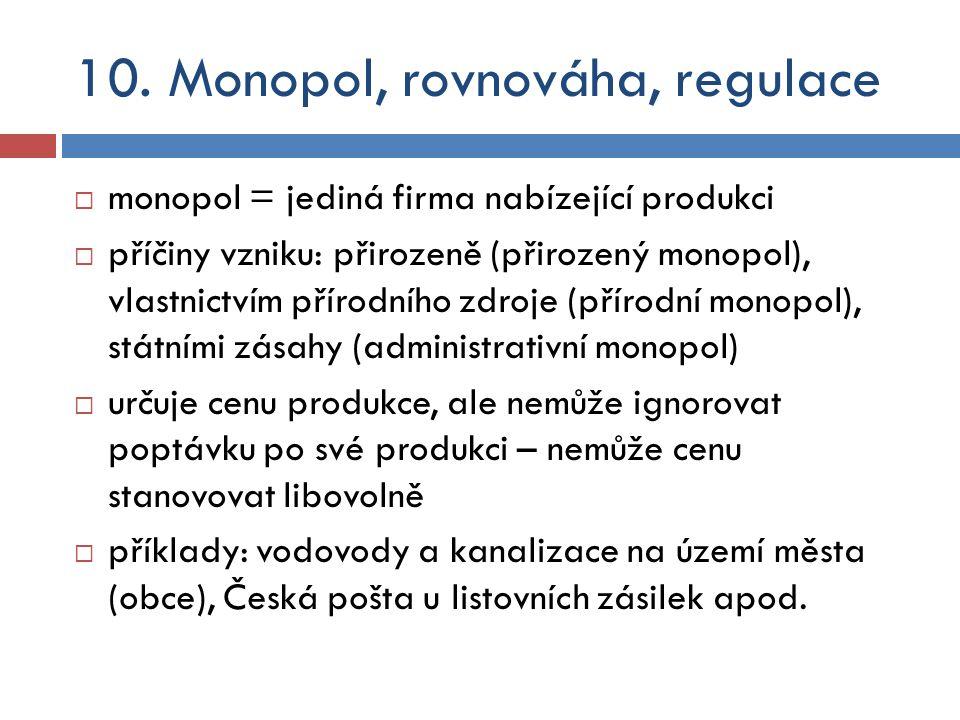 10. Monopol, rovnováha, regulace  monopol = jediná firma nabízející produkci  příčiny vzniku: přirozeně (přirozený monopol), vlastnictvím přírodního