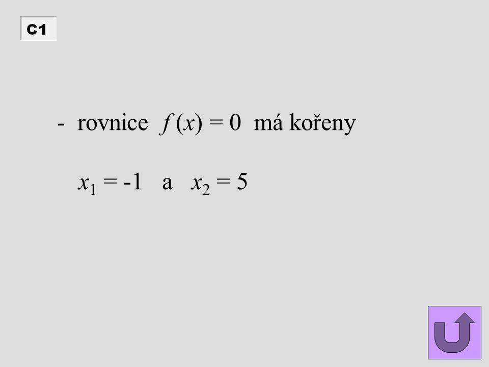 - rovnice f (x) = 0 má kořeny x 1 = -1 a x 2 = 5