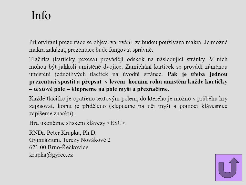 Info Při otvírání prezentace se objeví varování, že budou používána makra. Je možné makra zakázat, prezentace bude fungovat správně. Tlačítka (kartičk