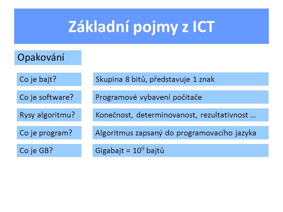 Základní pojmy z ICT Co je bajt. Opakování Co je software.