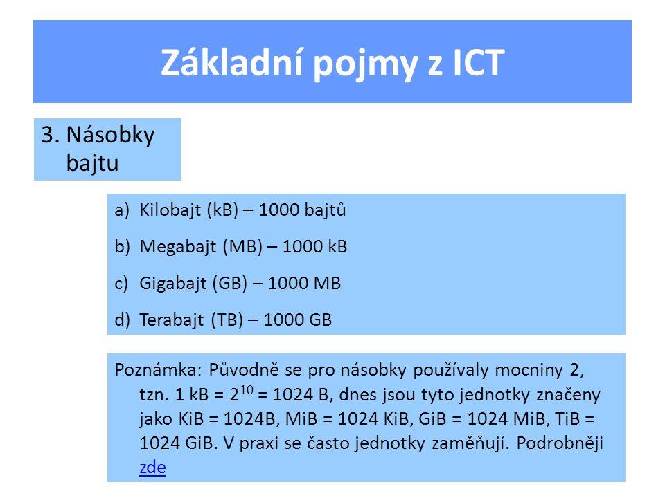 Základní pojmy z ICT a)Kilobajt (kB) – 1000 bajtů b)Megabajt (MB) – 1000 kB c)Gigabajt (GB) – 1000 MB d)Terabajt (TB) – 1000 GB 3.Násobky bajtu Poznámka: Původně se pro násobky používaly mocniny 2, tzn.