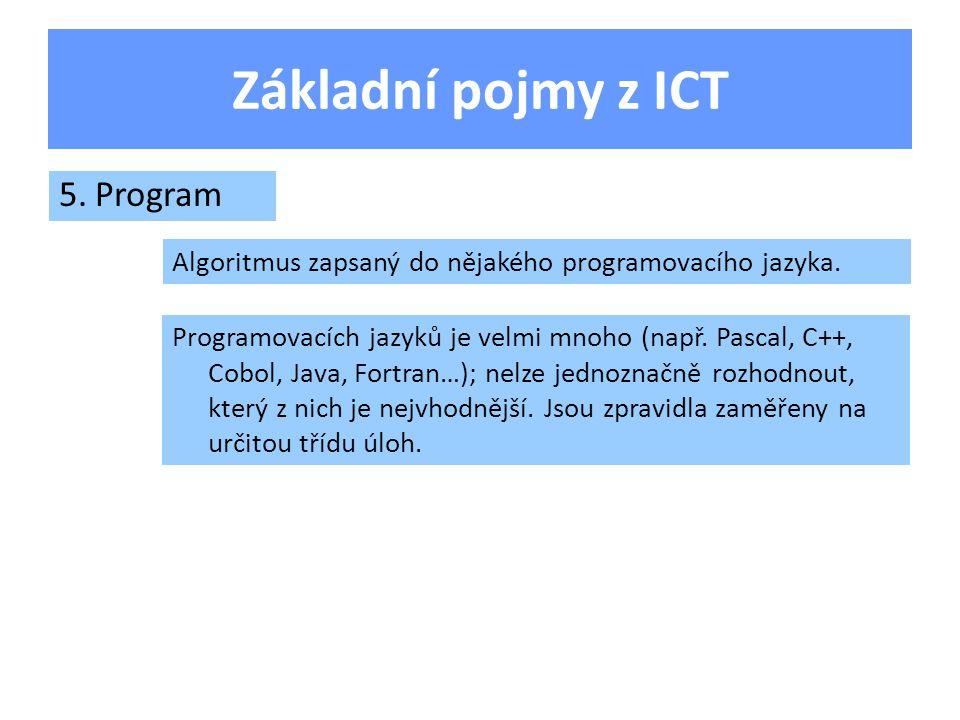 Základní pojmy z ICT 5.Program Algoritmus zapsaný do nějakého programovacího jazyka.