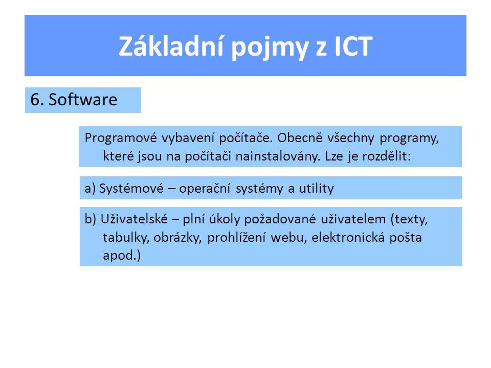 Základní pojmy z ICT Technické vybavení počítače, obecně všechny hmotné součásti, ze kterých se počítač skládá.