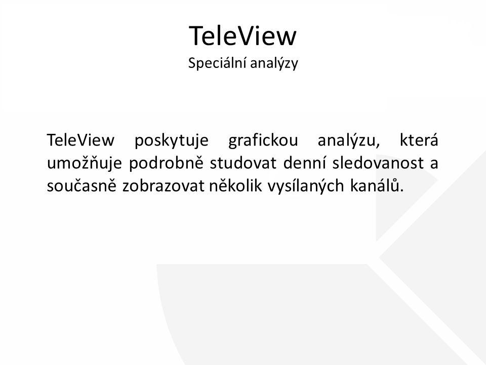 TeleView Speciální analýzy TeleView poskytuje grafickou analýzu, která umožňuje podrobně studovat denní sledovanost a současně zobrazovat několik vysílaných kanálů.