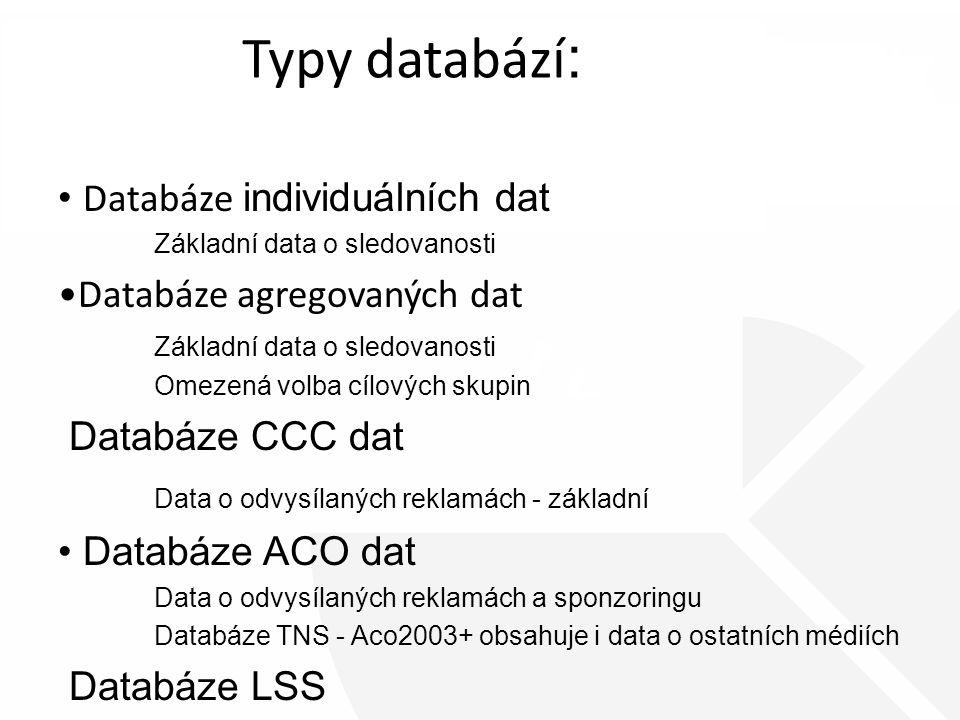 Typy databází : Databáze individuálních dat Základní data o sledovanosti Databáze agregovaných dat Základní data o sledovanosti Omezená volba cílových skupin Databáze CCC dat Data o odvysílaných reklamách - základní Databáze ACO dat Data o odvysílaných reklamách a sponzoringu Databáze TNS - Aco2003+ obsahuje i data o ostatních médiích Databáze LSS obsahuje sledovanost a data o životním stylu