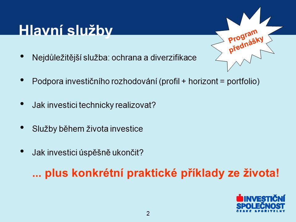 2 Hlavní služby Nejdůležitější služba: ochrana a diverzifikace Podpora investičního rozhodování (profil + horizont = portfolio) Jak investici technick
