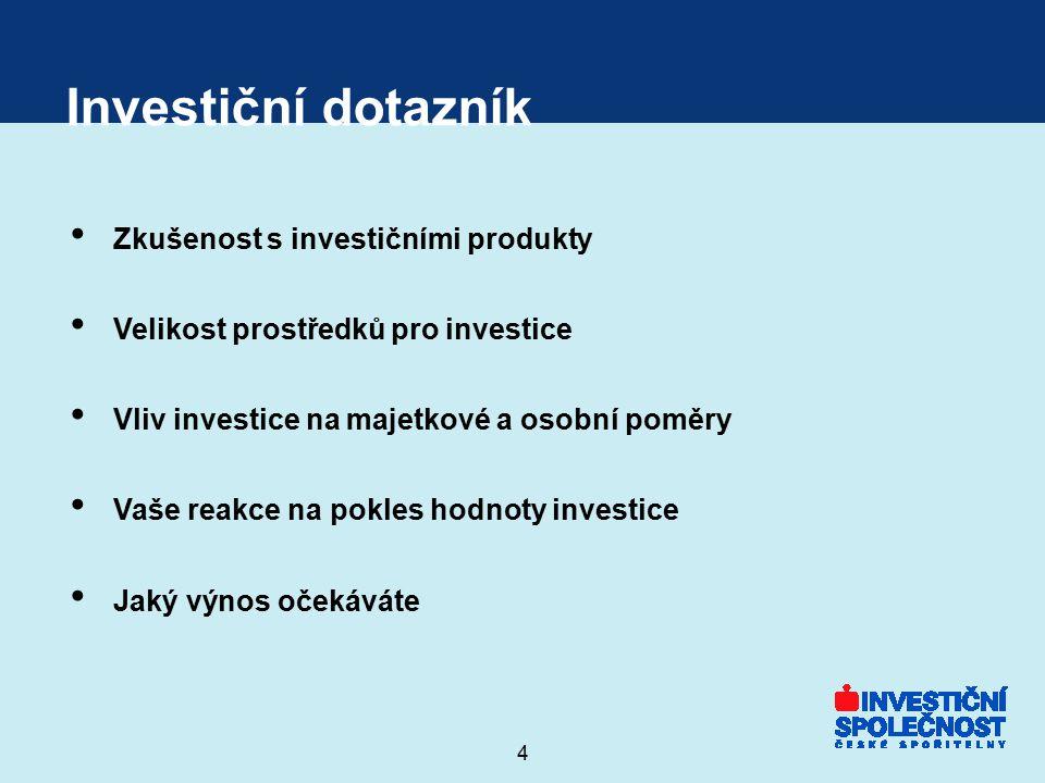 4 Investiční dotazník Zkušenost s investičními produkty Velikost prostředků pro investice Vliv investice na majetkové a osobní poměry Vaše reakce na p