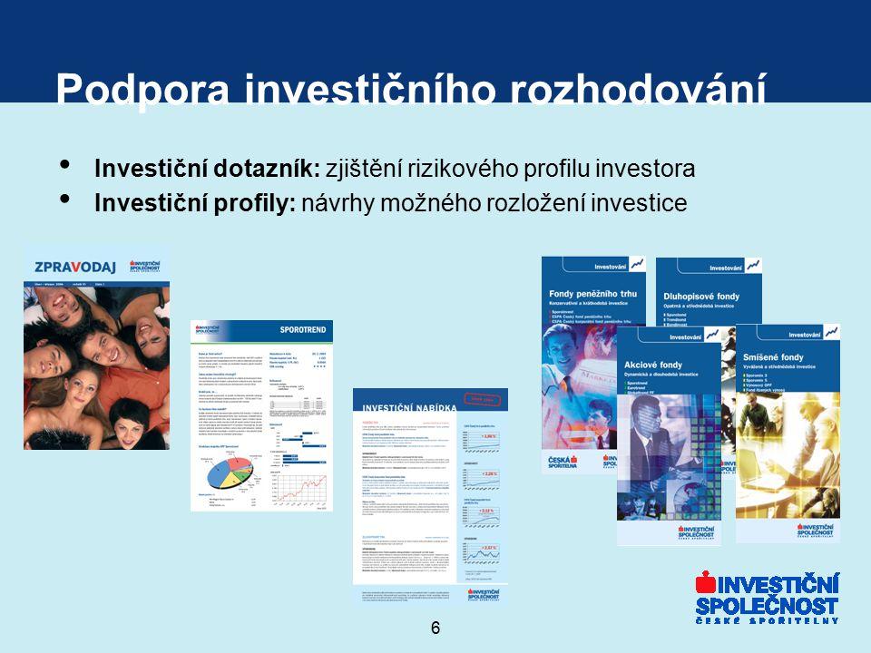 6 Podpora investičního rozhodování Investiční dotazník: zjištění rizikového profilu investora Investiční profily: návrhy možného rozložení investice