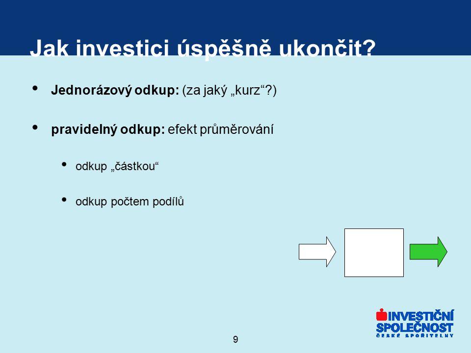 """9 Jak investici úspěšně ukončit? Jednorázový odkup: (za jaký """"kurz""""?) pravidelný odkup: efekt průměrování odkup """"částkou"""" odkup počtem podílů"""