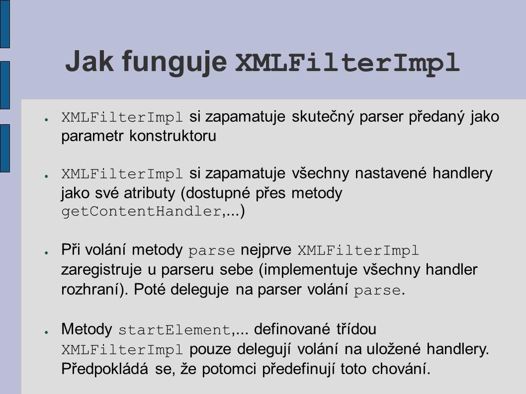 Jak funguje XMLFilterImpl ● XMLFilterImpl si zapamatuje skutečný parser předaný jako parametr konstruktoru ● XMLFilterImpl si zapamatuje všechny nasta