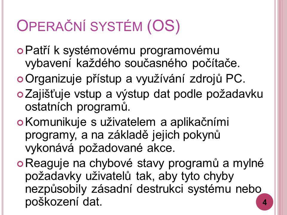 O PERAČNÍ SYSTÉM (OS) Patří k systémovému programovému vybavení každého současného počítače. Organizuje přístup a využívání zdrojů PC. Zajišťuje vstup