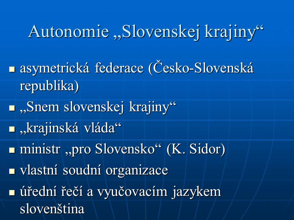 """Autonomie """"Slovenskej krajiny asymetrická federace (Česko-Slovenská republika) asymetrická federace (Česko-Slovenská republika) """"Snem slovenskej krajiny """"Snem slovenskej krajiny """"krajinská vláda """"krajinská vláda ministr """"pro Slovensko (K."""