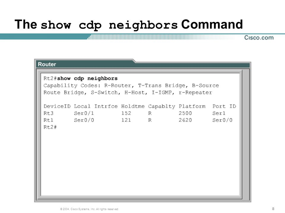 888 © 2004, Cisco Systems, Inc. All rights reserved. The show cdp neighbors Command