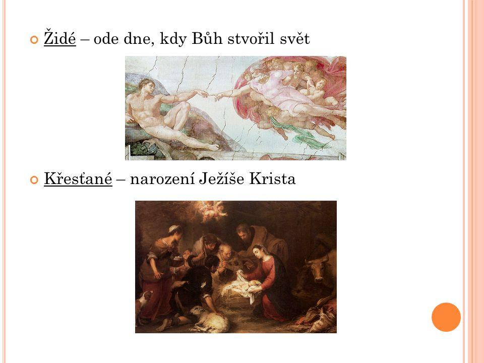 Židé – ode dne, kdy Bůh stvořil svět Křesťané – narození Ježíše Krista