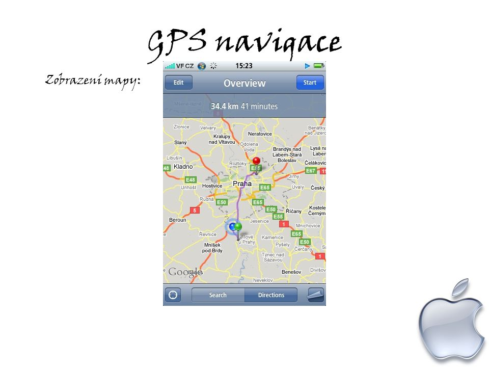 GPS navigace Zobrazení mapy: