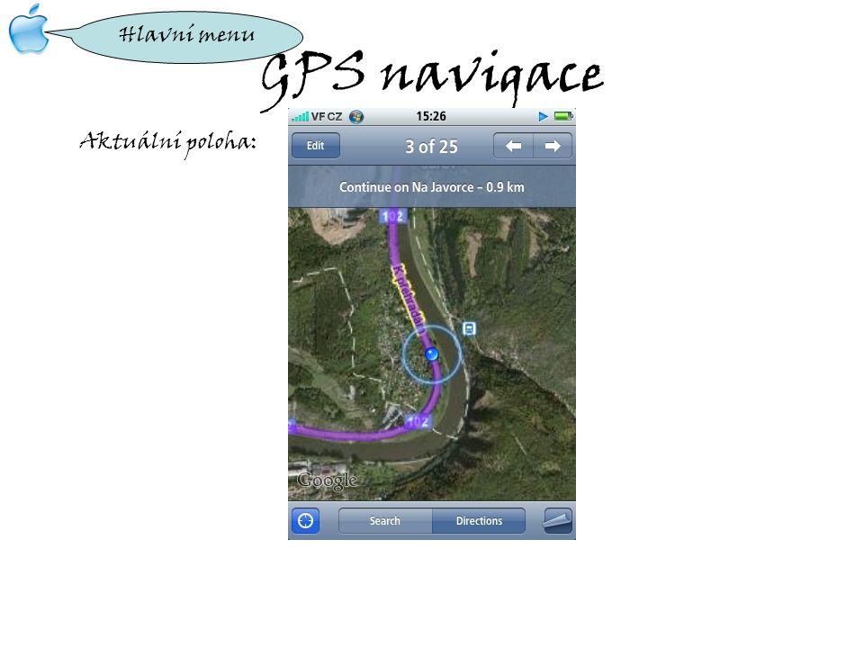 GPS navigace Aktuální poloha: Hlavní menu