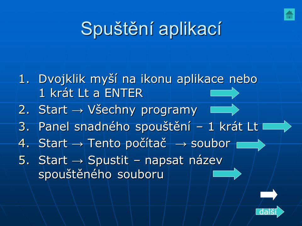 Spuštění aplikací 1.Dvojklik myší na ikonu aplikace nebo 1 krát Lt a ENTER 2.Start → Všechny programy 3.Panel snadného spouštění – 1 krát Lt 4.Start →