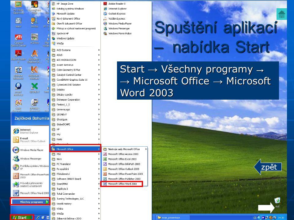 Spuštění aplikací – nabídka Start Start → Všechny programy → → Microsoft Office → Microsoft Word 2003 zpět