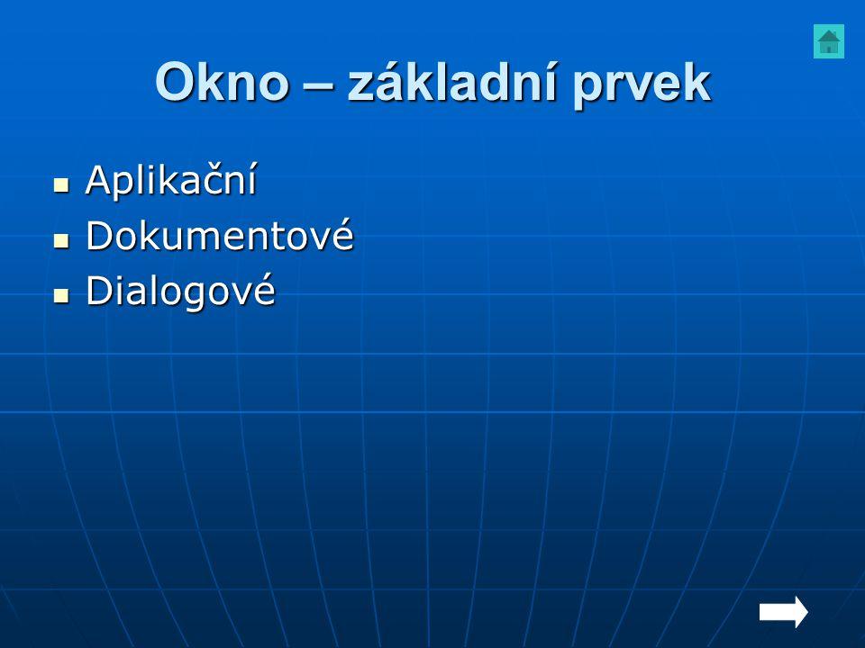 Okno – základní prvek Aplikační Aplikační Dokumentové Dokumentové Dialogové Dialogové