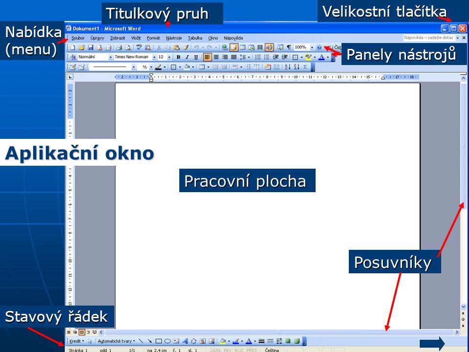 Nabídka(menu) Posuvníky Velikostní tlačítka Stavový řádek Pracovní plocha Panely nástrojů Titulkový pruh Aplikační okno