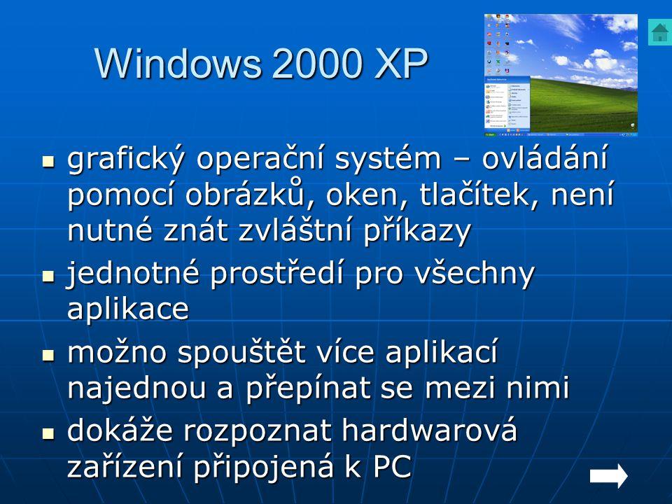 Windows 2000 XP grafický operační systém – ovládání pomocí obrázků, oken, tlačítek, není nutné znát zvláštní příkazy grafický operační systém – ovládá