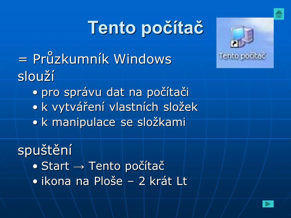 Tento počítač = Průzkumník Windows slouží pro správu dat na počítačipro správu dat na počítači k vytváření vlastních složekk vytváření vlastních slože