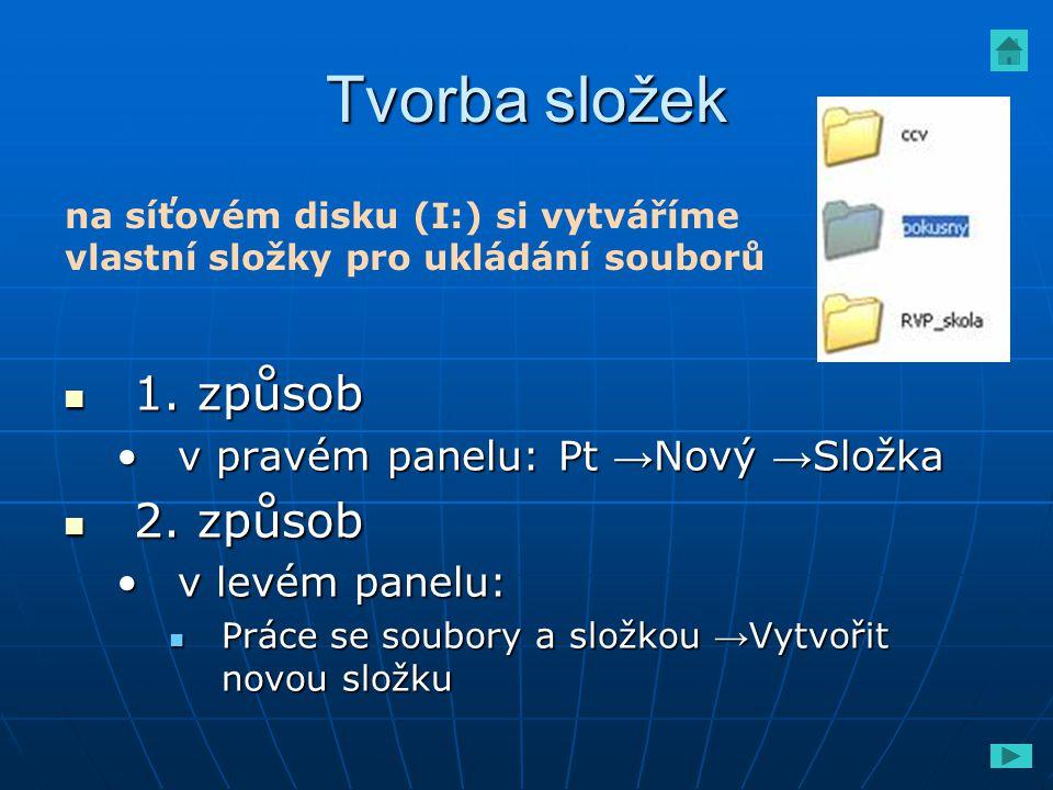 Tvorba složek 1. způsob 1. způsob v pravém panelu: Pt → Nový → Složkav pravém panelu: Pt → Nový → Složka 2. způsob 2. způsob v levém panelu:v levém pa