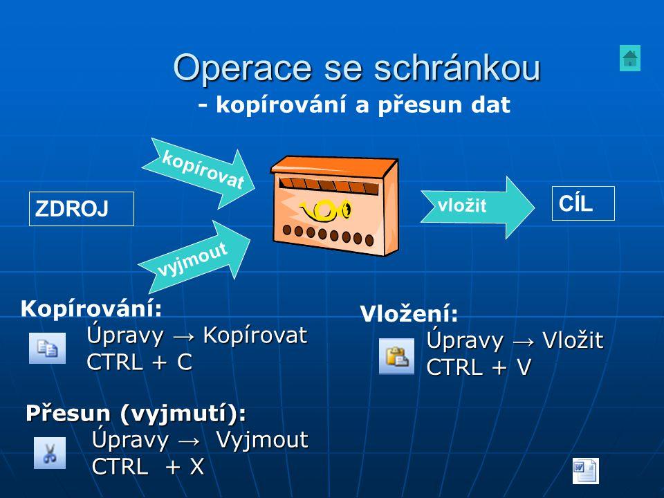 Přesun (vyjmutí): Úpravy → Vyjmout CTRL + X Vložení: Úpravy → Vložit CTRL + V Kopírování: Úpravy → Kopírovat CTRL + C Operace se schránkou kopírovat v