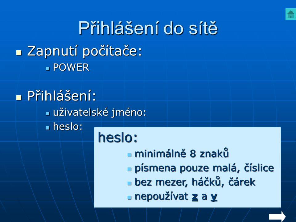 Přihlášení do sítě Zapnutí počítače: Zapnutí počítače: POWER POWER Přihlášení: Přihlášení: uživatelské jméno: uživatelské jméno: heslo: heslo: heslo: