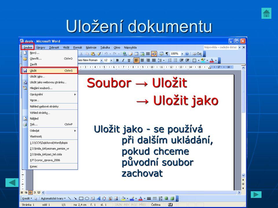 Uložení dokumentu Soubor → Uložit → Uložit jako → Uložit jako Uložit jako - se používá při dalším ukládání, pokud chceme původní soubor zachovat
