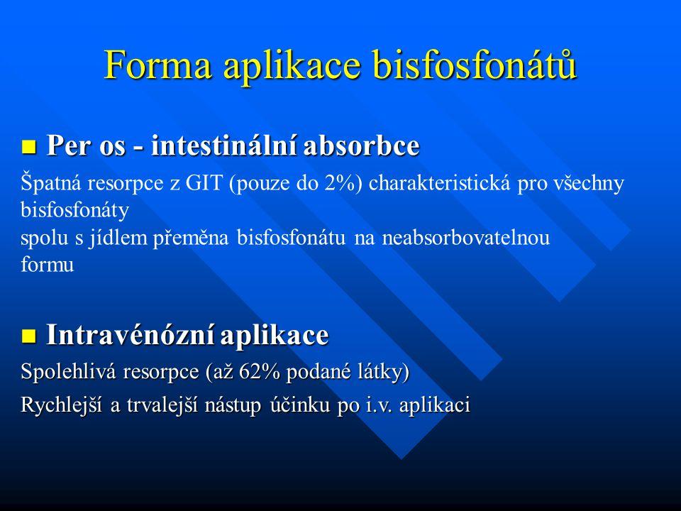 Forma aplikace bisfosfonátů Per os - intestinální absorbce Per os - intestinální absorbce Špatná resorpce z GIT (pouze do 2%) charakteristická pro vše