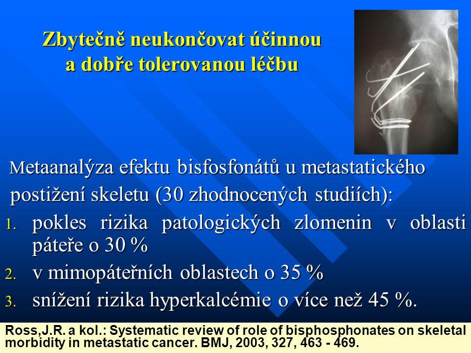 Zbytečně neukončovat účinnou a dobře tolerovanou léčbu M etaanalýza efektu bisfosfonátů u metastatického postižení skeletu (30 zhodnocených studiích):