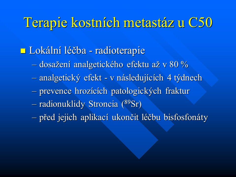 Terapie kostních metastáz u C50 Lokální léčba - radioterapie Lokální léčba - radioterapie –dosažení analgetického efektu až v 80 % –analgetický efekt