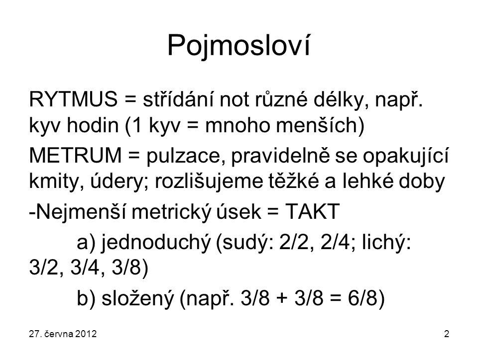 27.června 20122 Pojmosloví RYTMUS = střídání not různé délky, např.