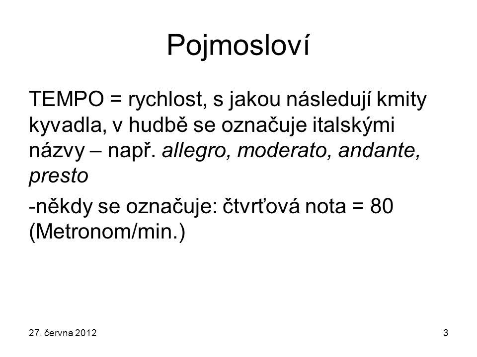 Pojmosloví TEMPO = rychlost, s jakou následují kmity kyvadla, v hudbě se označuje italskými názvy – např.