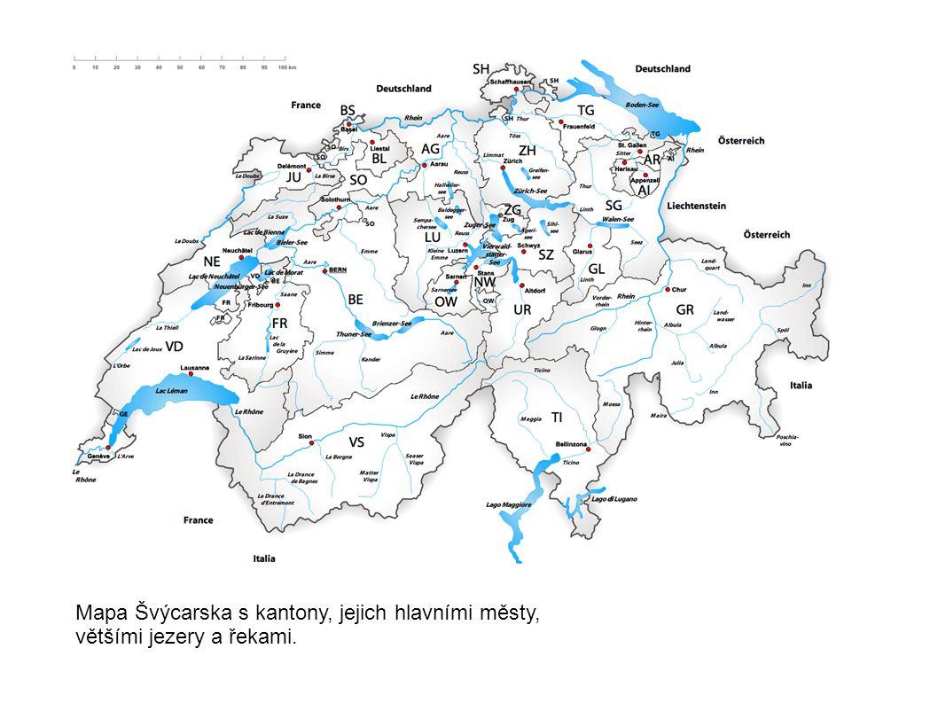 Mapa Švýcarska s kantony, jejich hlavními městy, většími jezery a řekami.