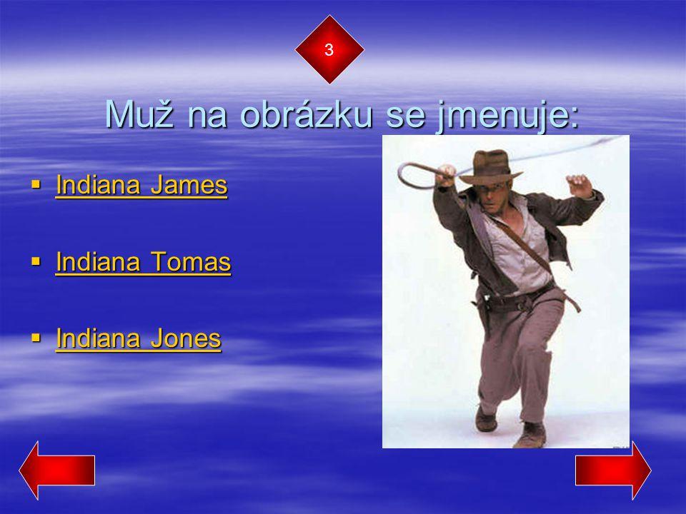 Muž na obrázku se jmenuje:  Indiana James Indiana James Indiana James  Indiana Tomas Indiana Tomas Indiana Tomas  Indiana Jones Indiana Jones Indiana Jones 3