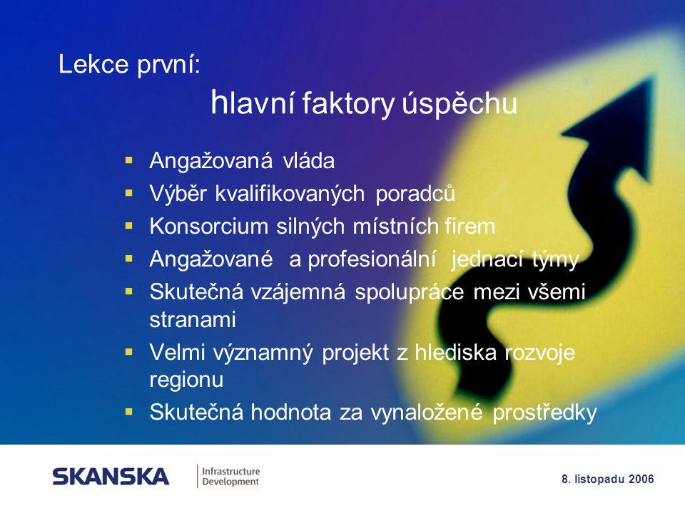 12 8. listopadu 2006  Angažovaná vláda  Výběr kvalifikovaných poradců  Konsorcium silných místních firem  Angažované a profesionální jednací týmy
