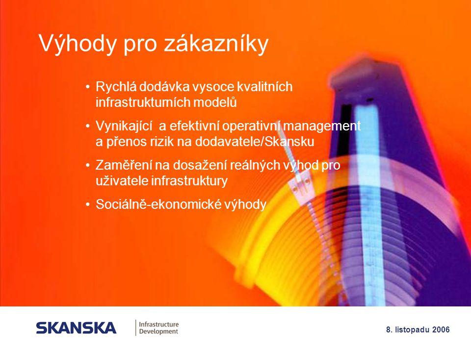19 8. listopadu 2006 Výhody pro zákazníky Rychlá dodávka vysoce kvalitních infrastrukturních modelů Vynikající a efektivní operativní management a pře