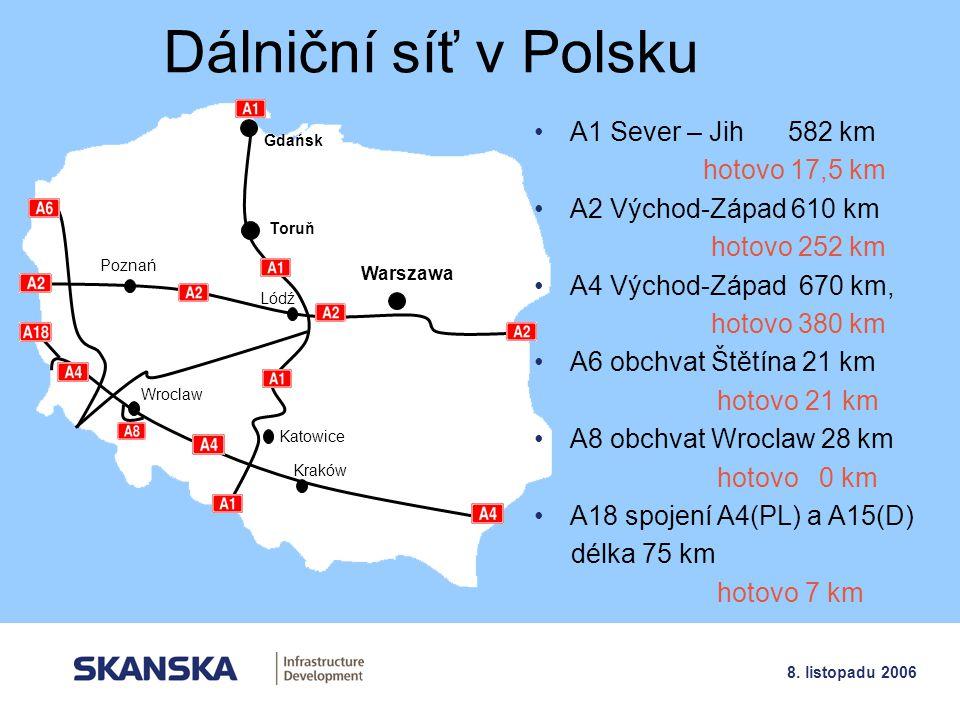 2 8. listopadu 2006 Dálniční síť v Polsku Gdańsk Toruň Lódź Katowice Kraków Warszawa A1 Sever – Jih 582 km hotovo 17,5 km A2 Východ-Západ 610 km hotov
