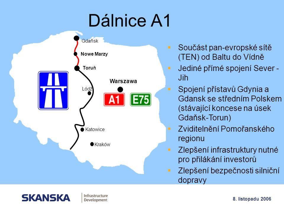 3 8. listopadu 2006 Dálnice A1 Gdaňsk Toruň Lódž Katowice Kraków Warszawa  Součást pan-evropské sítě (TEN) od Baltu do Vídně  Jediné přímé spojení S
