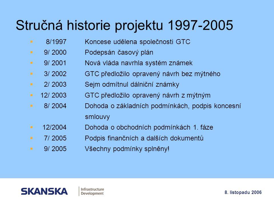 5 8. listopadu 2006 Stručná historie projektu 1997-2005  8/1997Koncese udělena společnosti GTC  9/ 2000Podepsán časový plán  9/ 2001Nová vláda navr