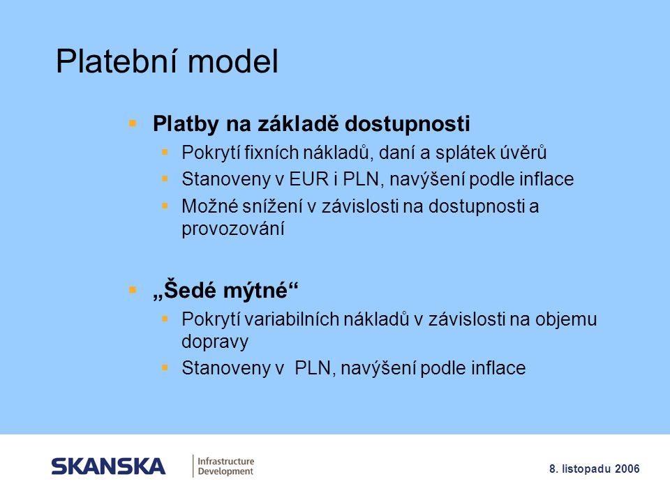 8 8. listopadu 2006 Platební model  Platby na základě dostupnosti  Pokrytí fixních nákladů, daní a splátek úvěrů  Stanoveny v EUR i PLN, navýšení p