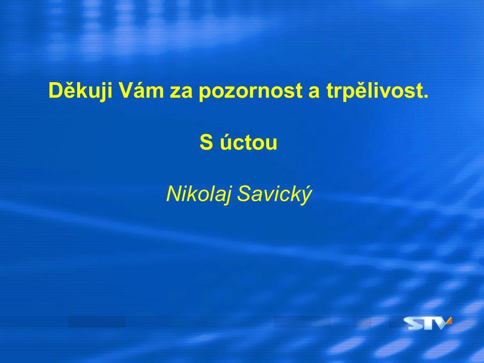 Děkuji Vám za pozornost a trpělivost. S úctou Nikolaj Savický