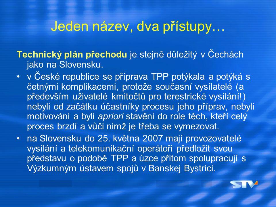 Motivace Rozdíl v přístupu k DVB-T v Čechách a na Slovensku má několik rovin: už dnes pokrývá experimentální digitální vysílání v některých místech na Slovensku lokality, které v minulosti nebyly pokryty analogovým signálem současných vysílatelů, tj.