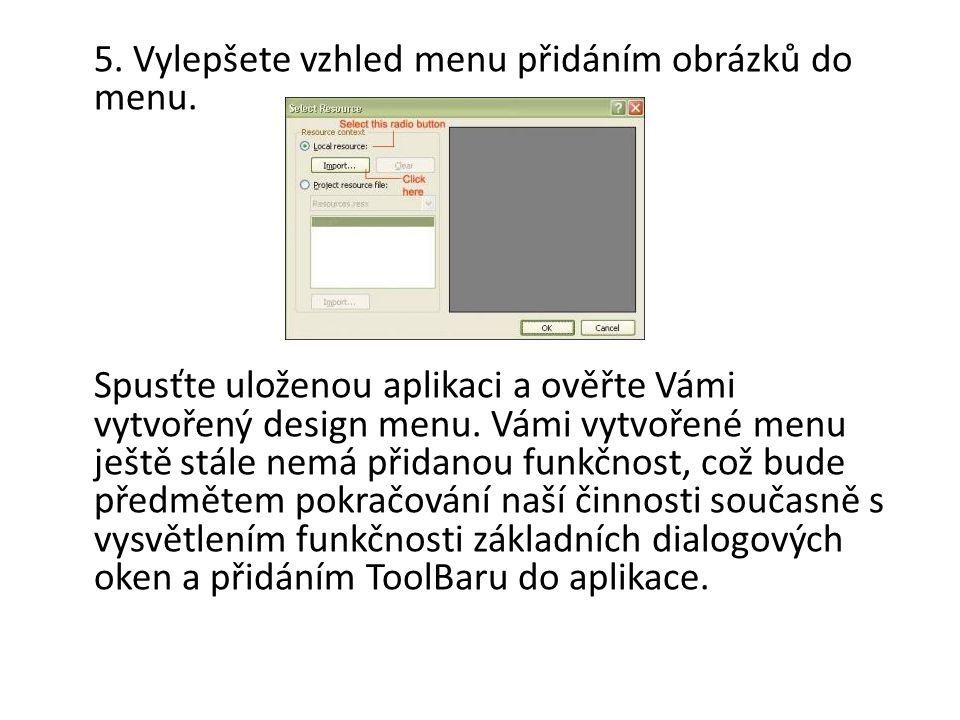 5. Vylepšete vzhled menu přidáním obrázků do menu.