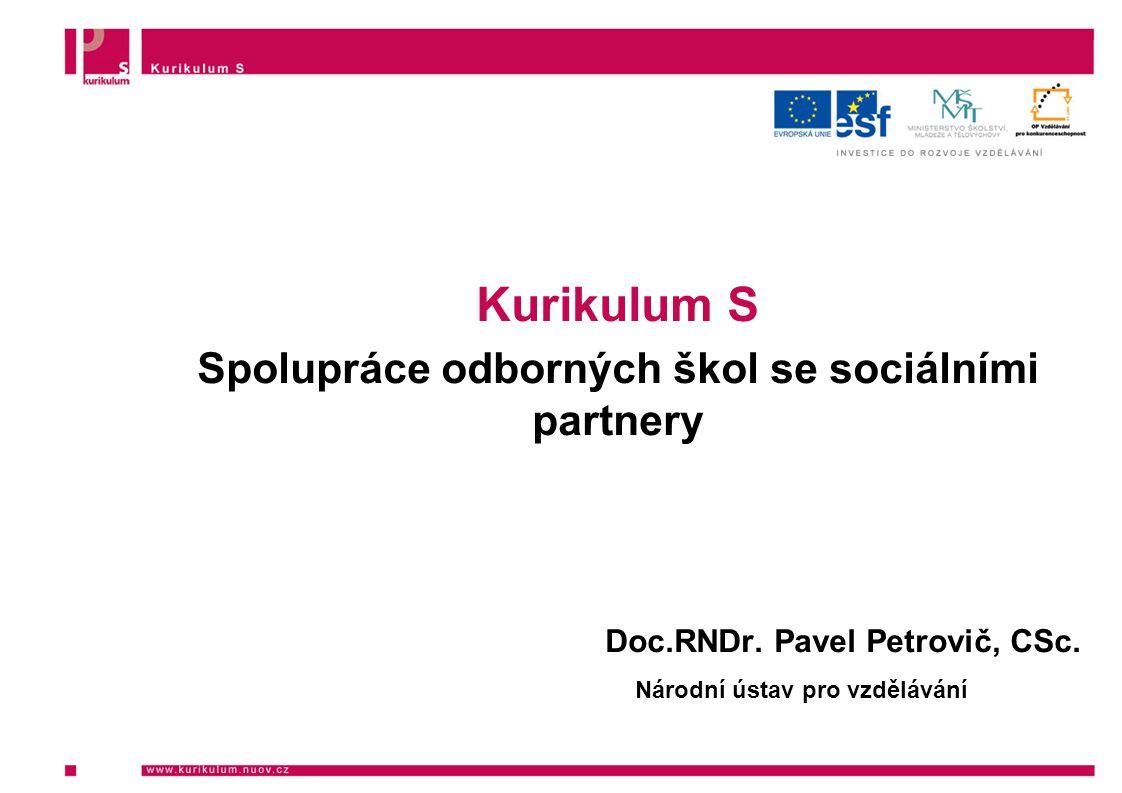 Kurikulum S Spolupráce odborných škol se sociálními partnery Doc.RNDr.